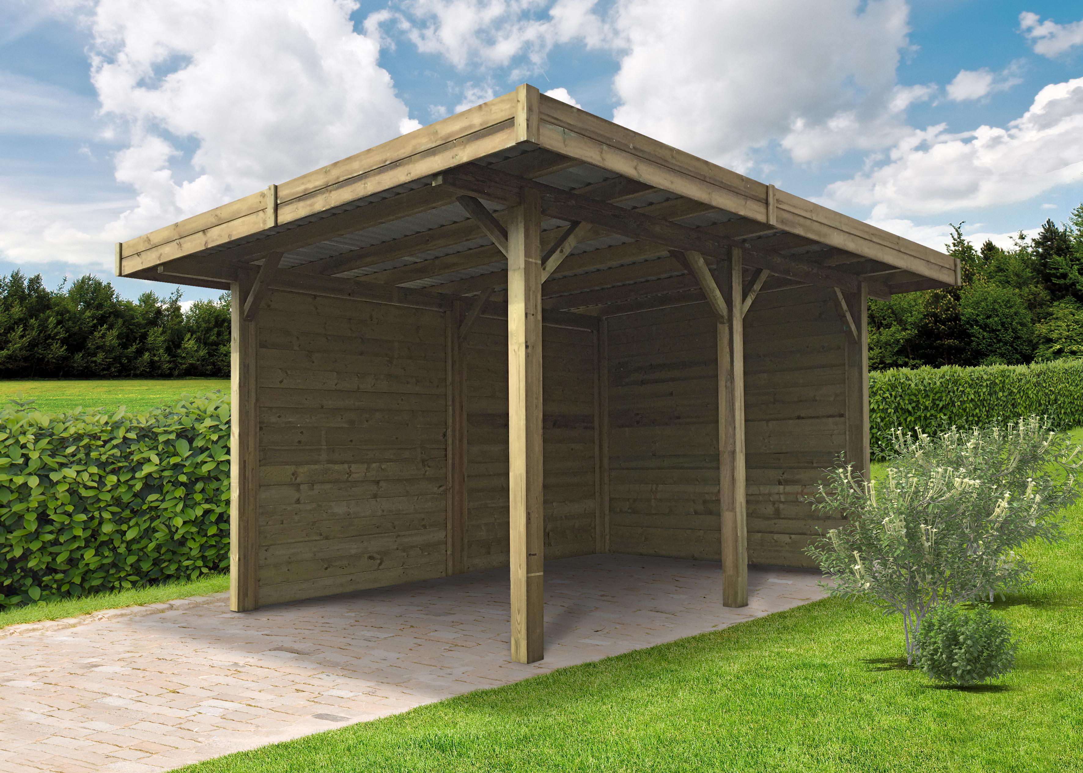 carport en bois semi fermé traité autoclave